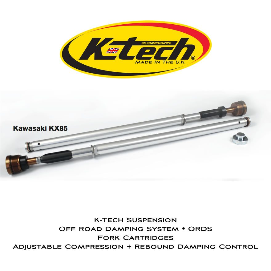 K-Tech Suspension ORDS Cartridges Kawasaki KX 85 2014 2016 Adjustable Compression And Rebound Control