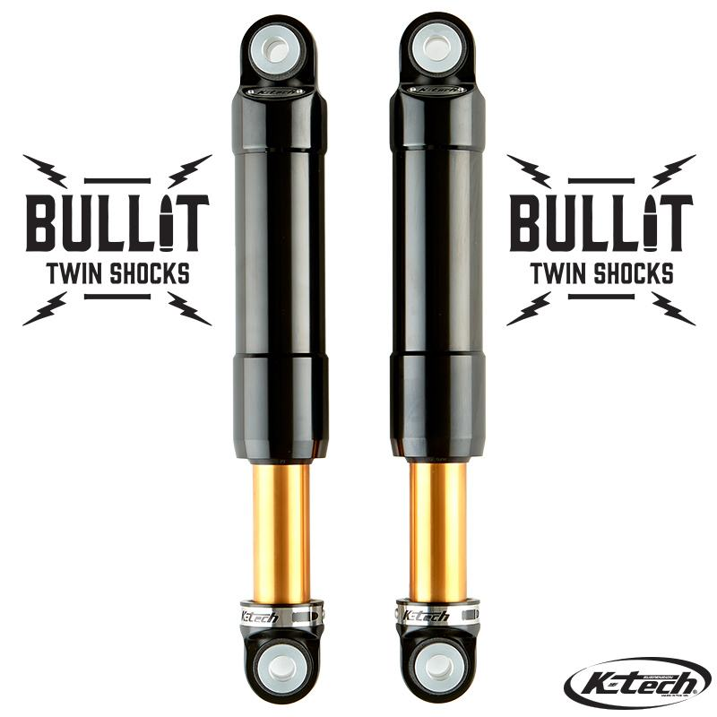 K-Tech Suspension Bullit Twin Shocks Yamaha XV 950 Bolt 2014 2016 Black On Gold Shafts Nitrogen Pressurized Forged Aluminum